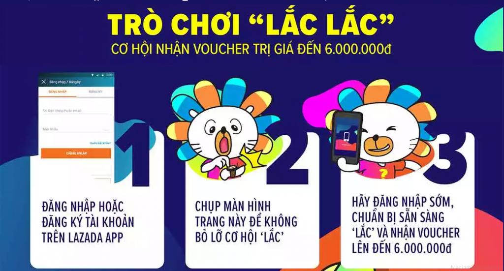 Các bước chơi game lắc điện thoại nhận voucher ở sinh nhật lazada 2018