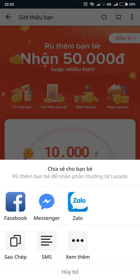 Hướng dẫn cách chơi giới thiệu bạn bè nhận mã voucher Lazada giảm giá