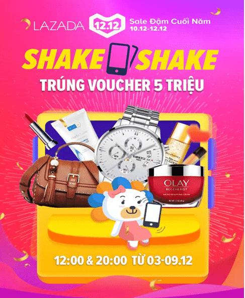 Shake shake lắc điện thoại nhận voucher trong chương trình Lazada khuyến mãi 12/12