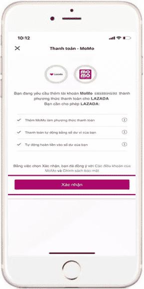 Xác nhận liên kết ví Momo với Lazada