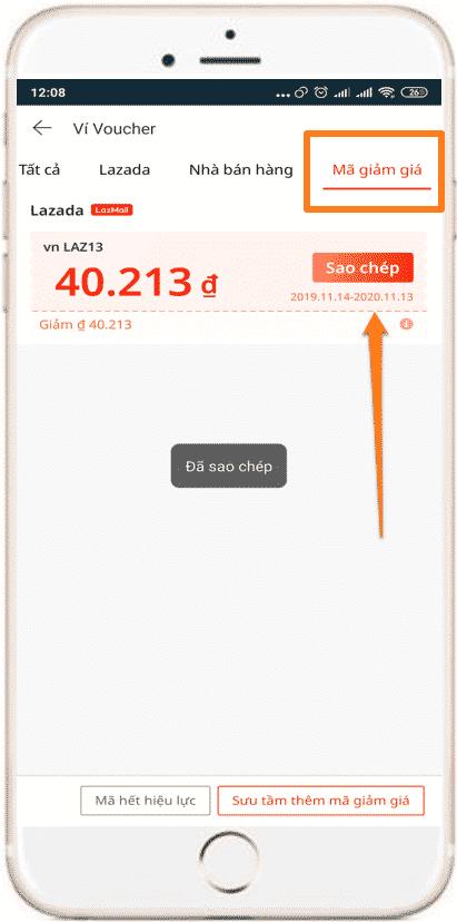 Lấy mã hoàn tiền trên Lazada App điện thoại