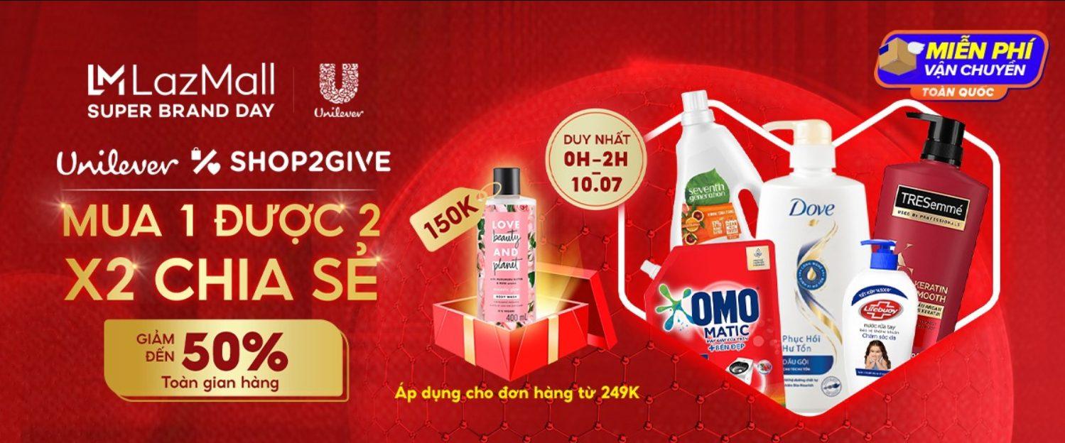 Gian hàng Unilever khuyến mãi trên Lazada