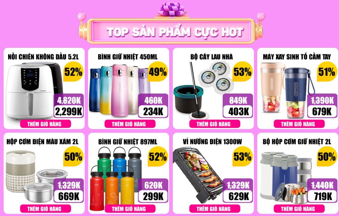 Top sản phẩm hot trong chương trình ngày hội thương hiệu Lock & Lock khuyến mãi